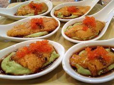 Avocado purée with uni, tobiko and yuzu