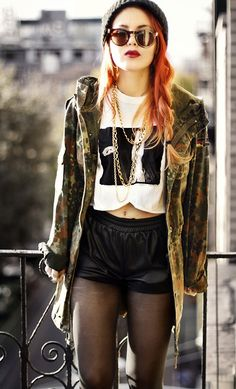 Camo and Leather (by Lua P) http://lookbook.nu/look/4263615-Camo-and-Leather
