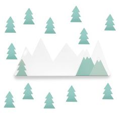 Wall Hook & Wall Stickers . Mountains & Trees / Green