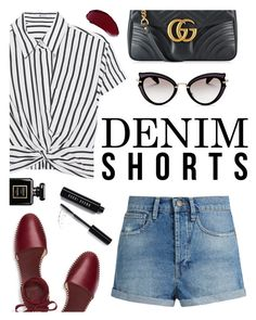 """Denim Cutoffs"" by tqangel ❤ liked on Polyvore featuring T By Alexander Wang, Raey, Tory Burch, Gucci, Miu Miu, Bobbi Brown Cosmetics, Charlotte Tilbury and Chanel"