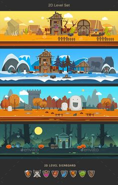 Buy Level by Swenom on GraphicRiver. 150 tile for platformer games. 4 level flat casual style Resolution background and tile Format: PNG PSD + v. Game Level Design, Game Character Design, Character Design Animation, Game Design, 2d Game Background, Cartoon Background, 2d Game Art, Video Game Art, Game Development Company