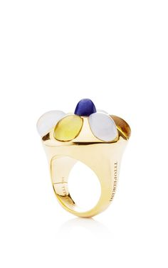 18K Yellow Gold Amanda Ring With Lime Citrine And Blue Chalcedony by Tito Pedrini for Preorder on Moda Operandi