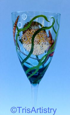 Lovingly Hand Painted 16 oz. Beach Wine Glass Goblet with a Puffer Fish, a Starfish & Sea Shells