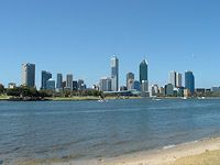 From the South Perth foreshore looking toward the city