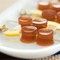 Long Island Iced Tea Jello Shot-  These were very good but very strong!    Make it 2-1/4c of diet Coke and add another Knox env. I also halved 3 lemons and filled the empty shells w the Jell-O shots. Then cut each half into 3 slices. Great party idea!