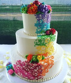 Jan Beautiful buttercream rainbow wedding cakeRainbow Wedding Cakes for Summer . Gay Wedding Cakes, Rustic Wedding Cake Toppers, Lesbian Wedding, Pretty Cakes, Beautiful Cakes, Amazing Cakes, Rainbow Wedding Dress, Rainbow Wedding Cakes, Rainbow Wedding Decorations
