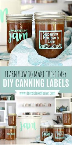 """Check out these cute Cricut jar labels! I tried canning and made orange rhubarb jam and then created my own jam labels in minutes. Click through for my jar labels template - you can use my design and make your own jam jar labels in minutes. Such a cute homemade gift idea! I'm on Lake Superior, so this jar labels design is such a cute pun """"Superior"""" jam. I also made a DIY vinyl label for my jam pot. Making DIY jar labels and Cricut labels for jars is easy! #jarlabels #cricutmade…"""