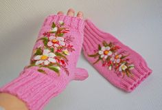 Pink Hand Knitted Wool fingerless gloves with by MySunsetColor