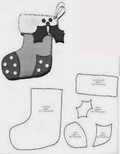 Baú da Web: Moldes enfeites árvore de Natal em feltro by Kathleen Cole Christmas Makes, Christmas Art, Christmas Projects, Felt Ornaments Patterns, Felt Patterns, Felt Christmas Decorations, Felt Christmas Ornaments, Christmas Stocking, Felt Crafts