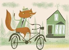 Fox on his bike