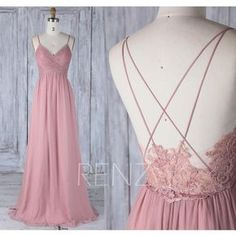 2017 Dusty Rose Bridesmaid Dress, V Neck Wedding Dress,Spaghetti... (750 DKK) ❤ liked on Polyvore featuring dresses, gowns, lace prom gowns, high-low dresses, prom ball gowns, floor length prom dresses and lace gown