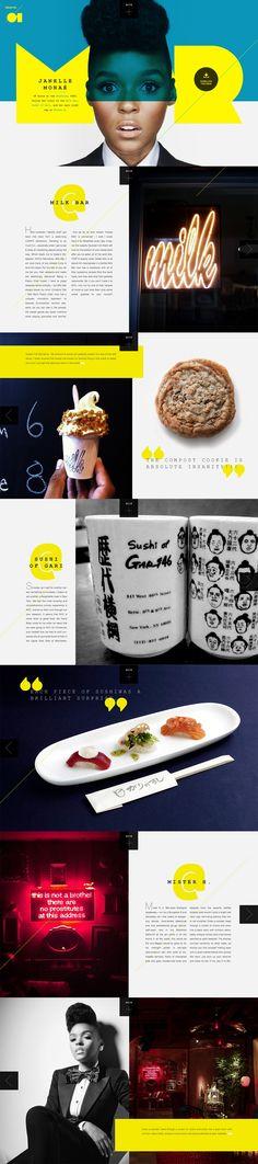 Digital magazine concept online grid pop layout bright punchy fun website responsive