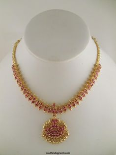 1 Gram gold necklace designs, One Gram Gold Necklace Design, Gold Plated Necklace Designs, Gold Plated Ruby Necklace Designs Ruby Necklace Designs, Simple Necklace Designs, Gold Ruby Necklace, Gold Necklace Simple, Gold Jewelry Simple, Pretty Necklaces, Indian Gold Necklace Designs, Coral Jewelry, Ruby Jewelry