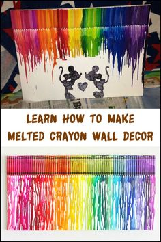 buy wall decor, when you can make one! Learn how to make your own melted crayon wall art now by heading over to our site :)Why buy wall decor, when you can make one! Learn how to make your own melted crayon wall art now by heading over to our site :) Disney Diy, Art Disney, Disney Kunst, Disney Crayon Art, Crayon Canvas Art, Melted Crayon Canvas, Disney Canvas Art, Diy Canvas, Melted Crayon Crafts