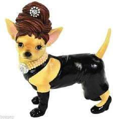 AYE CHIHUAHUA BLACK DRESS CHIHUAHUA DOG FIG #13768 - http://collectiblefigurines.net/aye-chihuahua/aye-chihuahua-black-dress-chihuahua-dog-fig-13768/