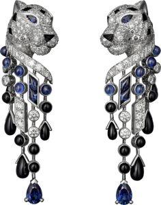 Panthère de Cartier earrings. Platinum, sapphires, onyx, diamonds