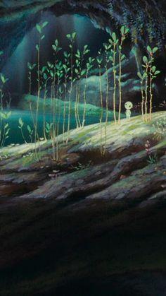 from Princess Mononoke Art Studio Ghibli, Studio Ghibli Movies, Hayao Miyazaki, Totoro, Princess Mononoke Wallpaper, Mononoke Forest, K Wallpaper, Film Studio, Animation