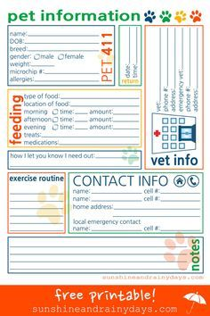 free printable pet sitter info sheet from haveashley com