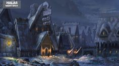 View an image titled 'Halas Night Shot Art' in our EverQuest Next art gallery featuring official character designs, concept art, and promo pictures. Fantasy Village, Fantasy City, Fantasy Places, High Fantasy, Fantasy World, Concept Art World, Environment Concept Art, Environment Design, Fantasy Art Landscapes