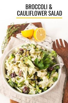 This cauliflower broccoli salad with tangy yogurt dressing is crunchy, super nutritious, and packed with flavor! It's a crave-worthy salad recipe that's easy to make ahead. Perfect for meal prep lunches or as a potluck side dish! #broccoli #cauliflower #salads #broccolisalad #healthylunch #mealprep Easy Salads, Healthy Salad Recipes, Real Food Recipes, Vegetarian Recipes, Potluck Side Dishes, Healthy Side Dishes, Creamy Potato Leek Soup, Broccoli Cauliflower Salad, Healthy Packed Lunches
