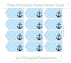 Free Pastel Light Blue Dotted Pattern Nautical Party Favor Tags