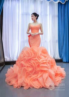 Peach Rosette Trumpet Prom Dresses Strapless Pageant Gown FD2455 – Viniodress