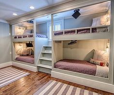 A blessed sleepover room from whoever designs them and did you catch the mini flatscreen tvs and lamps above each bed? Each item is most likely individually controlled. Bunk Bed Rooms, Bunk Beds Built In, Bunk Beds With Stairs, Bedrooms, Home Bedroom, Bedroom Decor, Childs Bedroom, Bedroom Ideas, Sleepover Room