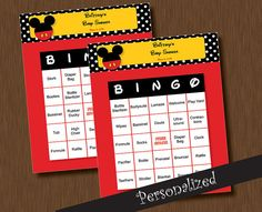 Instant Download Mickey Mouse BINGO 100 Baby Shower Unique Printable Personalized Cards DIY on Etsy, $5.99