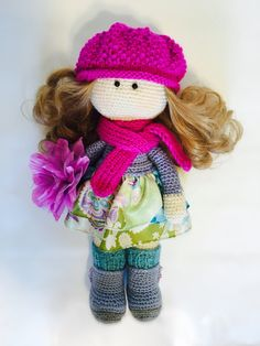 Crochet knitted doll with knitted hat by MYKnittingPlace on Etsy