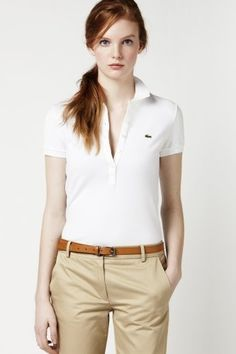 0448e30bfd73a Short Sleeve 5 Button Stretch Pique Polo. Golfgarb Ladies Polo Shirts