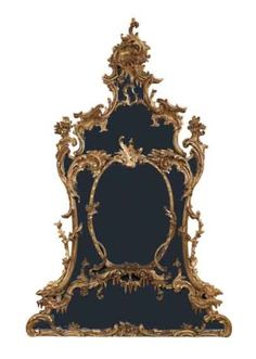 George II Gilt-Wood Overmantel Mirror   Attributed to Thomas Johnson, mid 18th century   The central oval mirror within a multi-panel inset frame, all within scrolling leafage, rocaille and flowering urns. Height 8 feet 7 inches (2.62), width 67 inches (1.70 m).