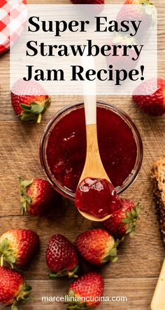 This Strawberry Jam is so easy and fun to make in the microwave! Make the most of seasonal strawberries or use frozen berries, the results are equally good. Plus the homemade jam has a quality and taste that no store bought variety can match. Making Strawberry Jam, Strawberry Freezer Jam, Strawberry Salsa, Homemade Strawberry Jam, Strawberry Recipes, Strawberry Jam Recipe Without Pectin, Jam Recipes, Canning Recipes, Fruit Recipes