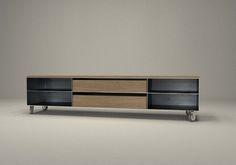 Design Metallmoebel TV-Sideboard mit Rollen Kaminholz-Aufbewahrung aus Stahl Holz Eiche Stahlzart