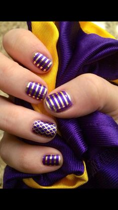 Purple/gold! Gold Pinstripe, Gold Fishnet, Iris Lacquer Jamberry Nails! http://christinevelazquez.jamberrynails.net/