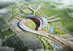 The competition-winning design of the main stadium for the Asian games in Incheon, in South Korea, illustrates a new level of sustainable design. Landscape Architecture Design, Unique Architecture, Bamboo Architecture, Cultural Architecture, Landscape Designs, Concept Architecture, Incheon, Stadium Architecture, Infrastructure Architecture