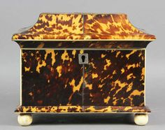 Regency Tortoise Shell Tea Caddy | From a unique collection of antique and modern boxes at https://www.1stdibs.com/furniture/decorative-objects/boxes/