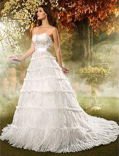 A-line/Princess cariño tribunal tren de organza y vestido de encaje de la boda - USD $ 247.99