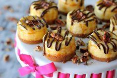 Mini Vanilla Bean Turtle Cheesecakes - A lovely Valentine's Day treat!