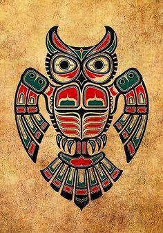 'Red and Teal Blue Haida Spirit Owl' Art Print by jeff bartels Native American Artwork, Native American Symbols, Native American Design, American Indian Art, Cherokee Indian Art, Haida Kunst, Arte Haida, Haida Art, Haida Tattoo
