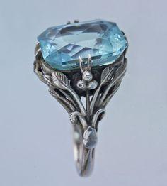 Arts & Crafts Ring   Silver Aquamarine c. 1930