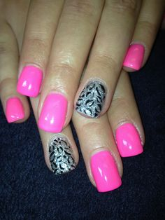 silver and hot pink Gel nails