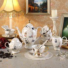 Regal estilo britânico do Vintage cerâmica conjunto xícara de café presente avançado de luxo osso real China conjuntos de chá frete grátis em Conjuntos de Chá e Café de Casa & jardim no AliExpress.com | Alibaba Group