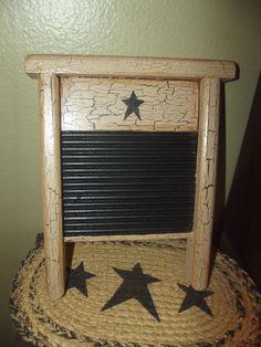 Primitive Crackle Tan Wood Wash Board ~ Black Stars  ~ Country Decor #NaivePrimitive