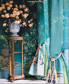 Charlotte Moss.. DeGournay curtains with lime green silk lining..Chinoiserie walls & draperies