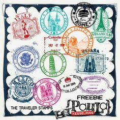 Quality DigiScrap Freebies: The Traveler Stamps freebie from Paula Kesselring