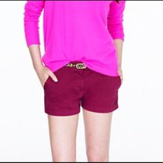 J.Crew Chino Shorts Burgundy Size 2 NWOT New without tags maroon/burgundy shorts with a 3' inseam. They are in excellent condition. Please ask for mix matching if interested in my other JCREW shorts. Please feel free to send me an offer, I'm willing to offer a great bundle price if you're interested in purchasing any other items. Thanks so much! J. Crew Shorts