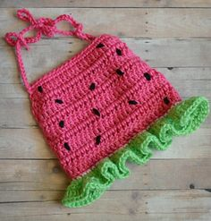 Crochet Watermelon Halter Top Crop Top Tank Top by CubbyCreations