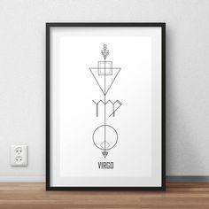 Astrology Arrows: Virgo Wall Art // Zodiac Signs // Digital Print // Minimalist // By Alcateia Art