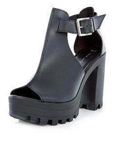 Black Chunky High Vamp Open Toe Block Heels  | New Look