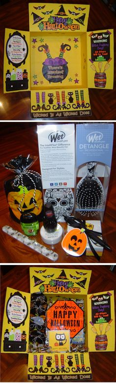 Witchy Halloween Care Package.  Sent to my daughter and her 3 college roommates. Each received a sugar skull Wet Brush, items to dress up their nails, Post-it Notes w/pen done in candy corn style, and a  bag of assorted candy.  Also made a tin of Harvest Hash Trail Mix from recipe found on Pinterest.